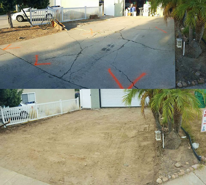 Concrete removal in Lakeside, CA